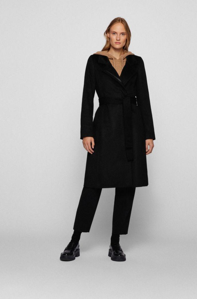 Belted coat in Italian virgin wool with zibeline finish