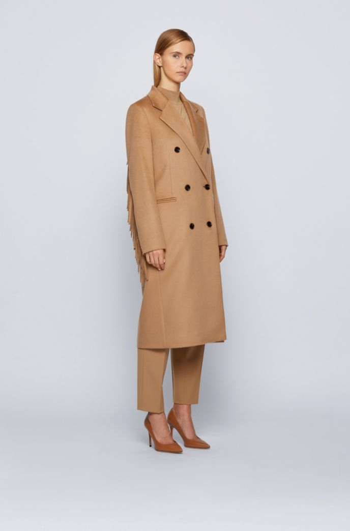 Long-line coat in virgin wool with fringe detailing