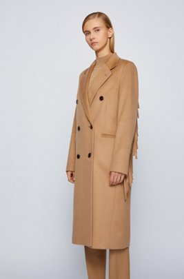 Long-line coat in virgin wool with fringe detailing, Light Brown