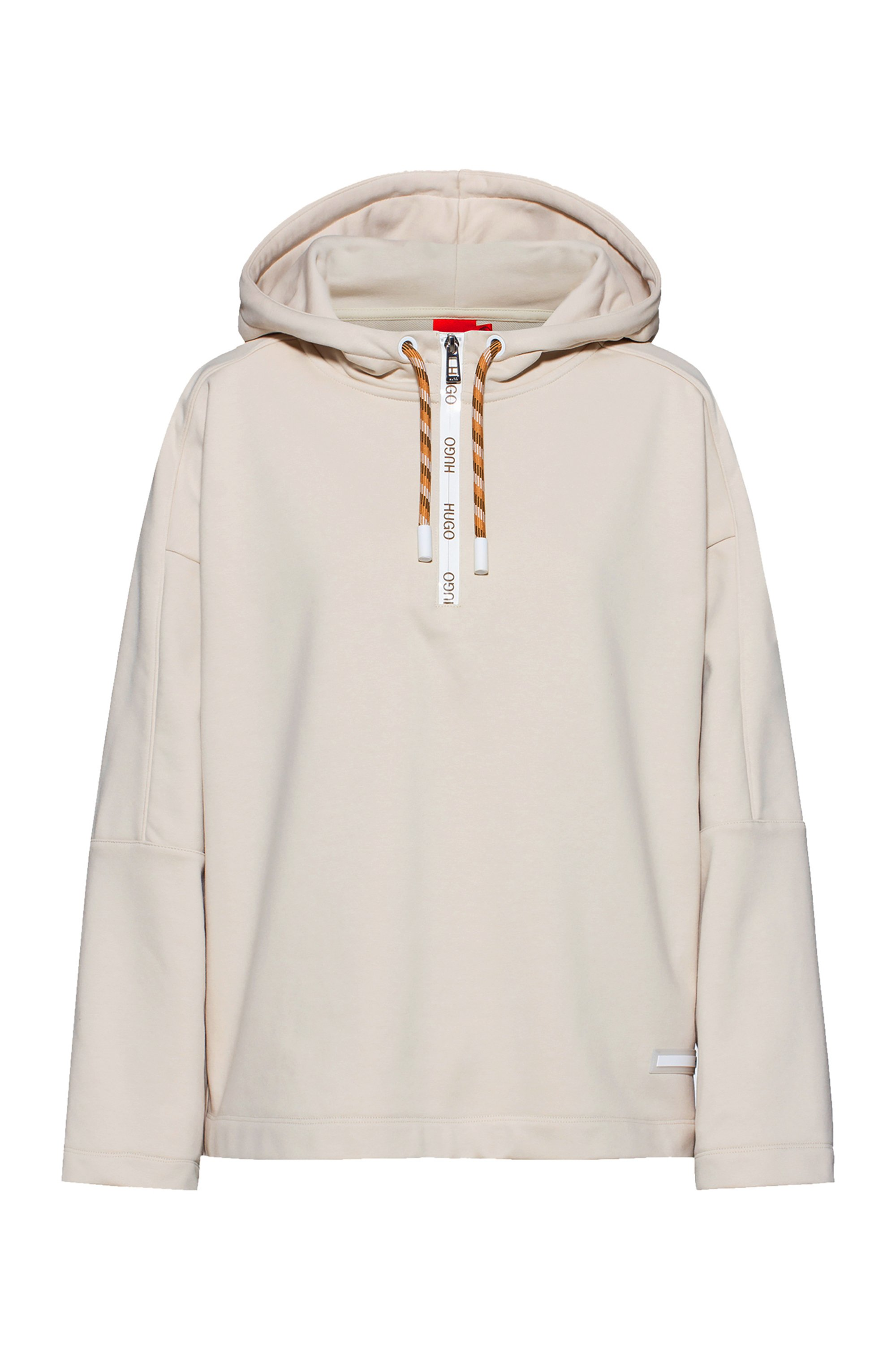 Relaxed-fit hooded sweatshirt with logo detailing, White