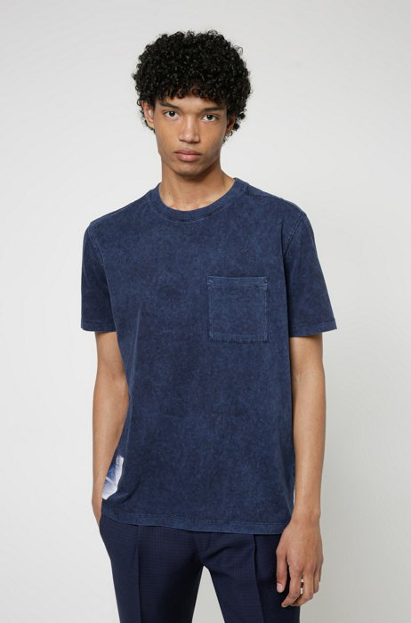 Manifesto-print T-shirt in Recot2® cotton jersey, Light Blue