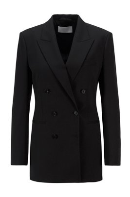 Double-breasted regular-fit jacket in Italian stretch wool, Black