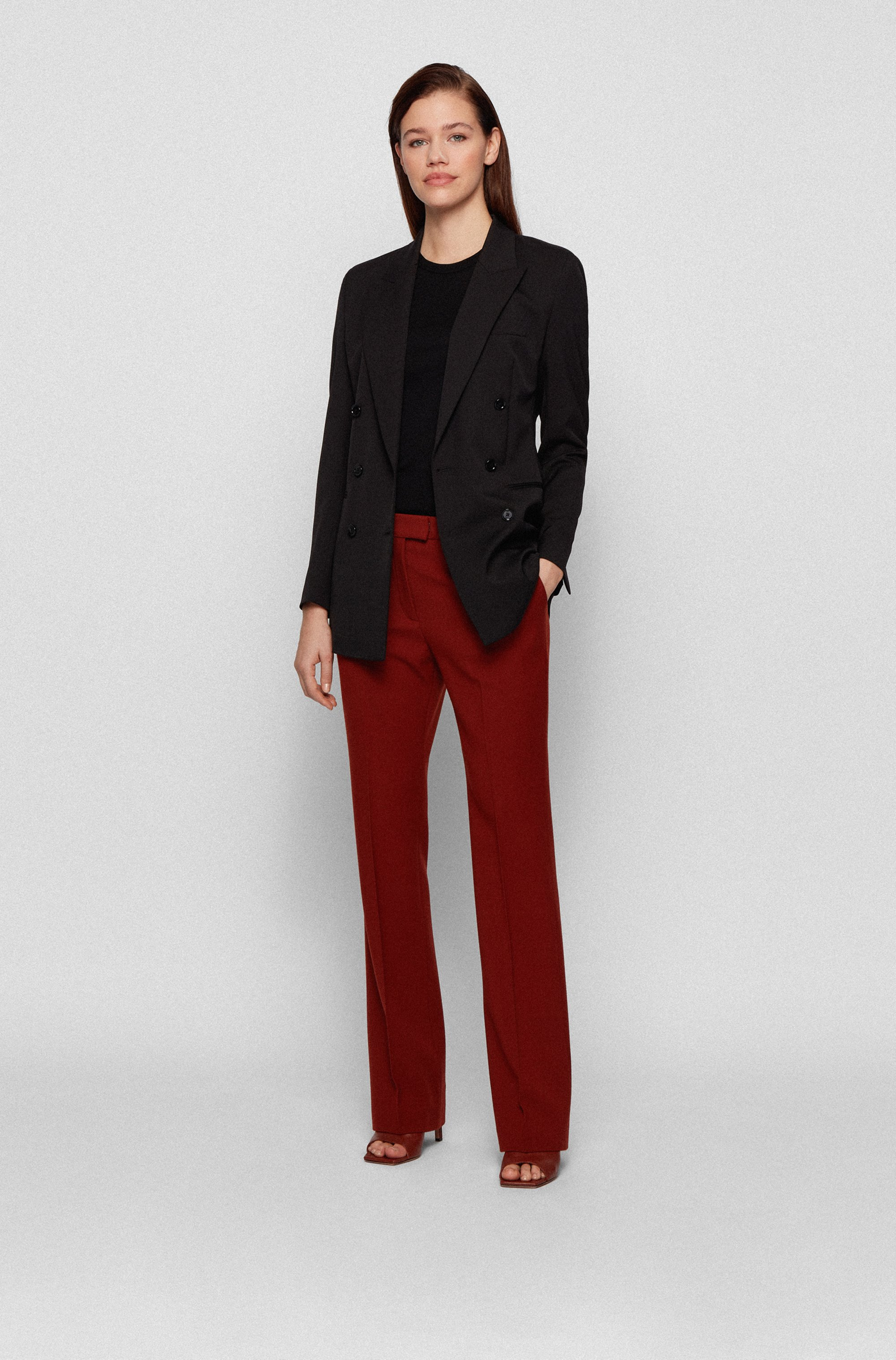 Double-breasted regular-fit jacket in Italian stretch wool