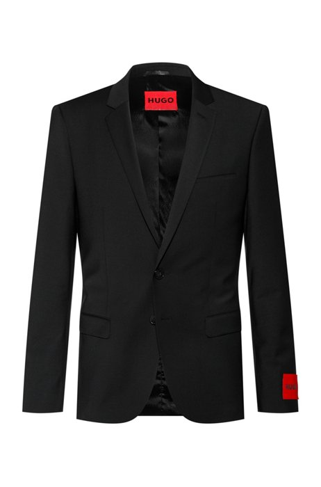 Veste Extra Slim Fit en tissu bi-stretch, Noir