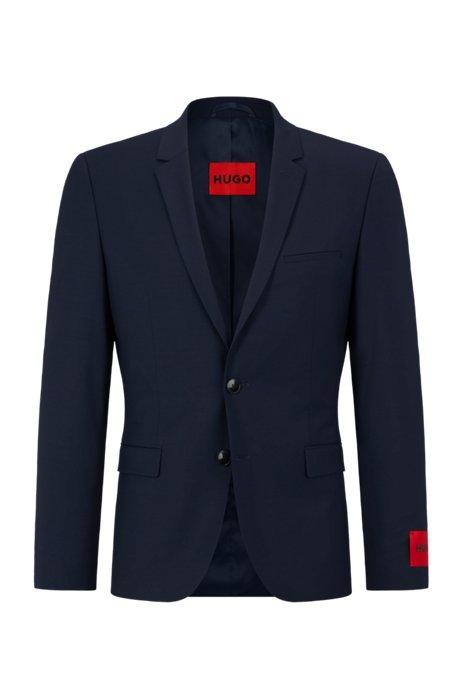 Veste Extra Slim Fit en tissu bi-stretch, Bleu foncé