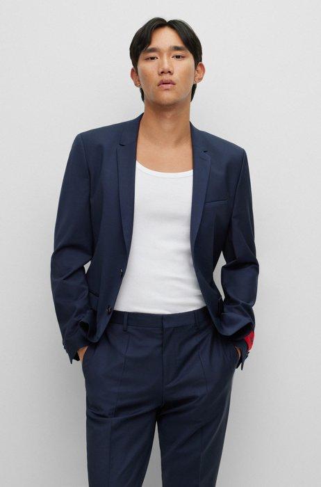 Extra-slim-fit jacket in bi-stretch fabric, Dark Blue