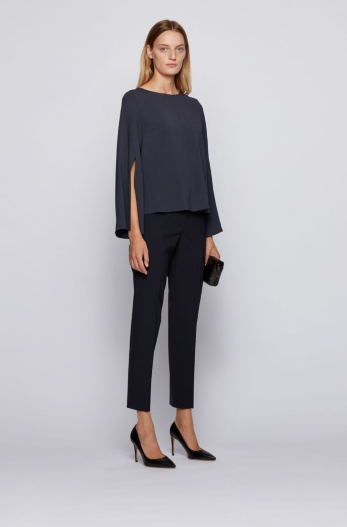 Crinkle-crepe relaxed-fit blouse with slit-front sleeves
