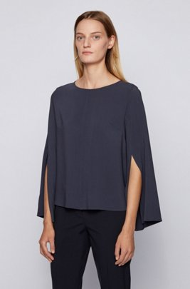 Crinkle-crepe relaxed-fit blouse with slit-front sleeves, Light Blue