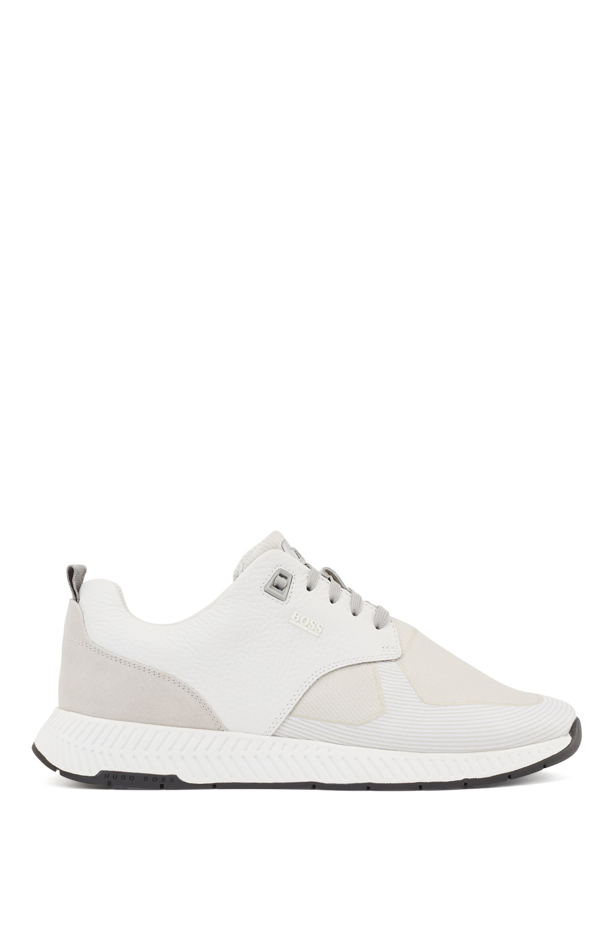 Hybrid trainers with grained-leather and jacquard-woven facings, White