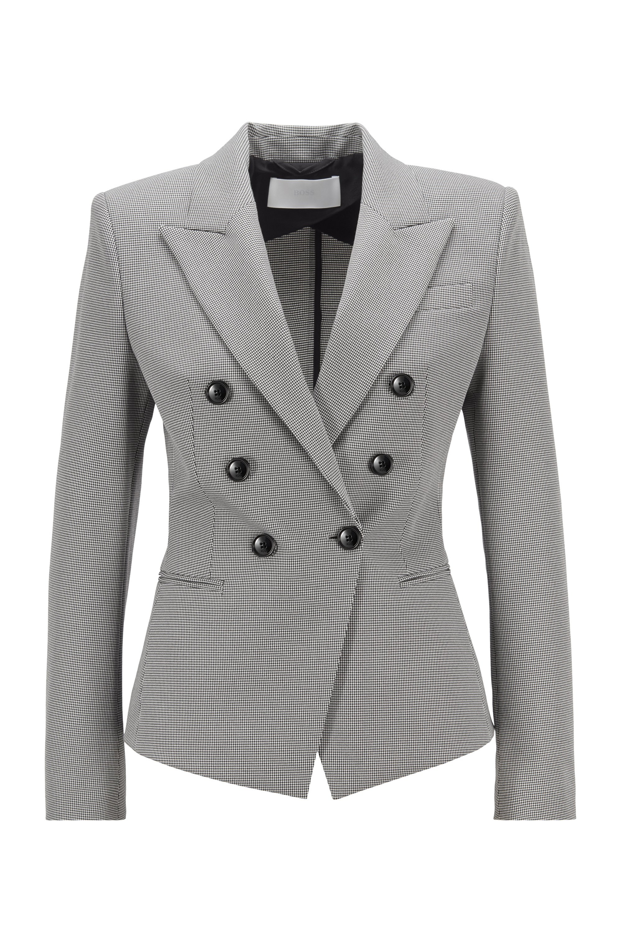 Slim-fit jacket in stretch fabric with micro houndstooth, Patterned