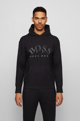 Relaxed-fit hooded sweatshirt with reflective logo print, Black