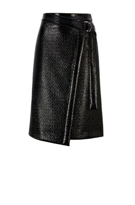 Wrap-style skirt in lacquered crocodile-print faux leather, Black