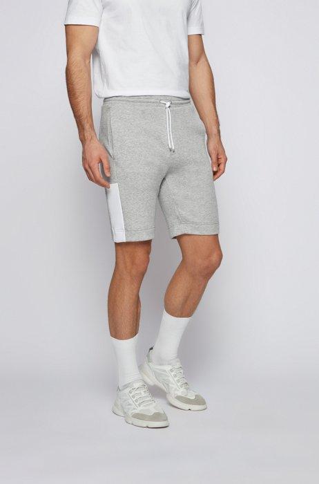Interlock-jersey shorts with color-block logo, Light Grey