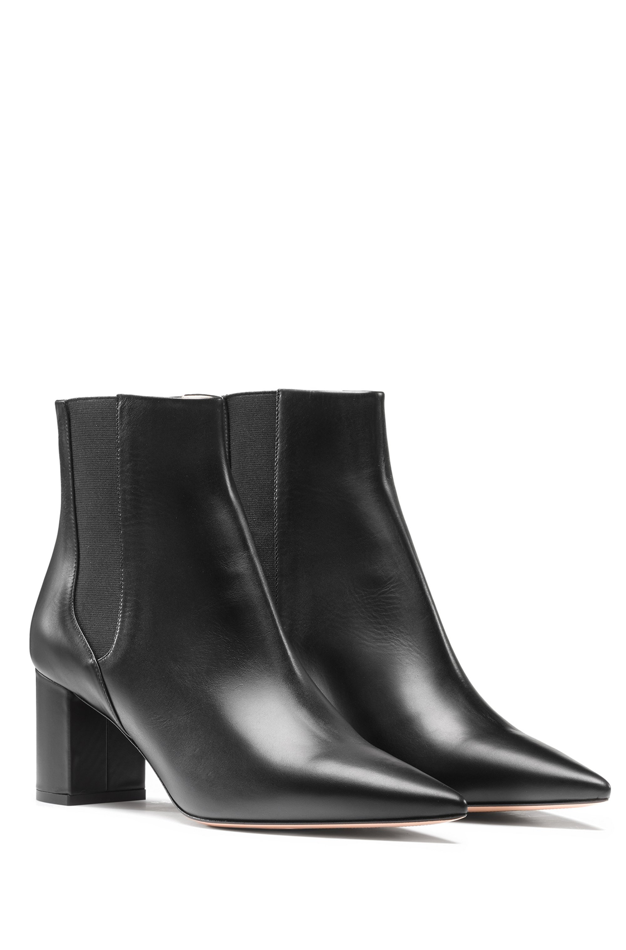 Pointed-toe ankle boots in Italian calf leather