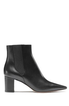 Pointed-toe ankle boots in Italian calf leather, Black