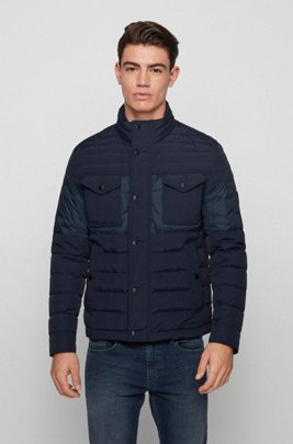 Slim-fit water-repellent jacket with down filling, Dark Blue