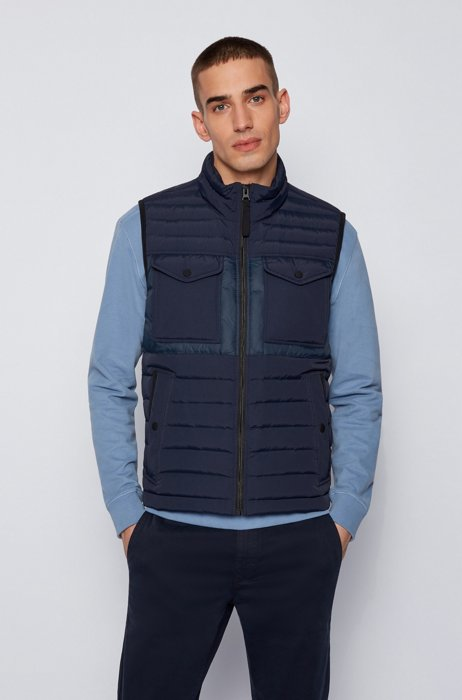 Water-repellent down gilet with patch pockets, Dark Blue