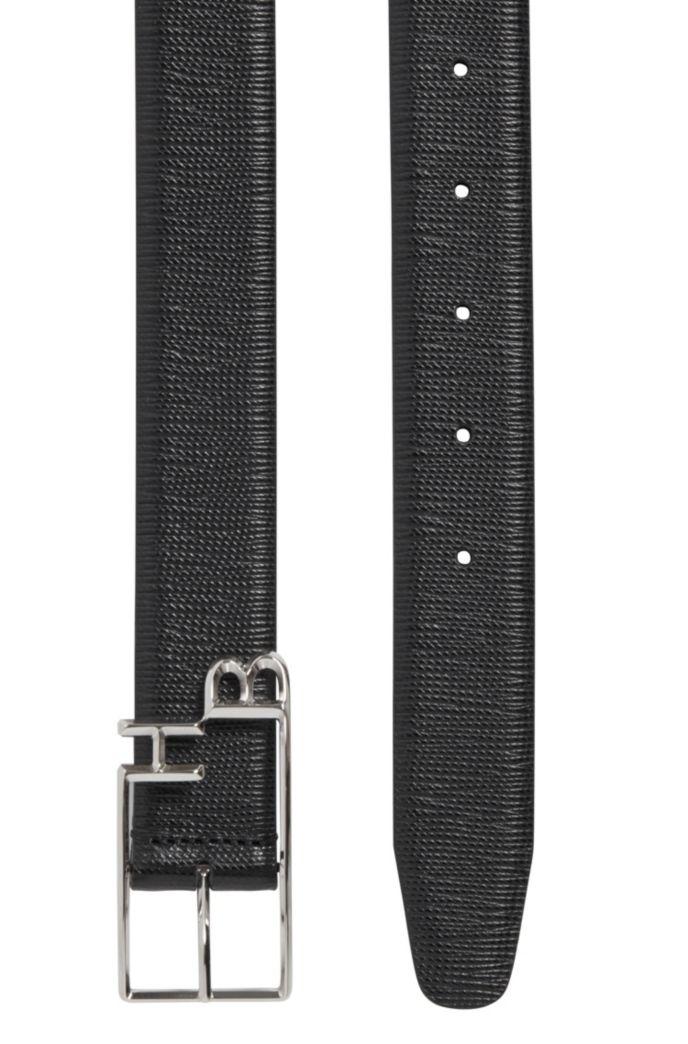 Italian-leather belt with monogram buckle