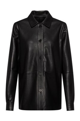 Regular-fit blouse in smooth leather, Black