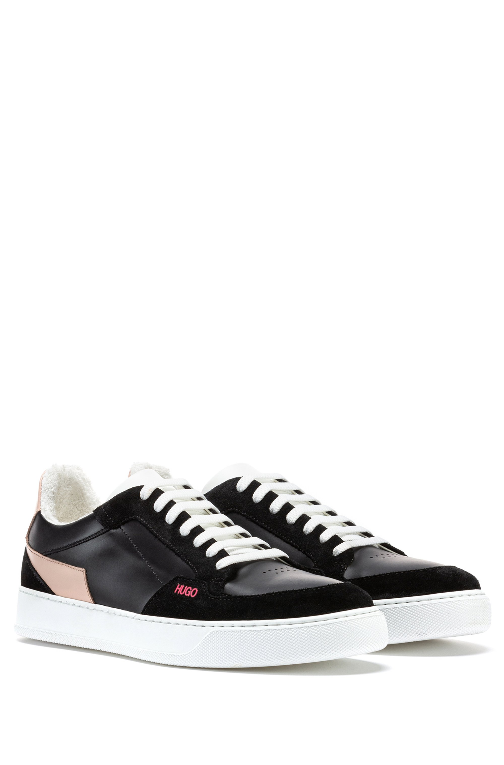 Italian-made cupsole trainers in leather and suede