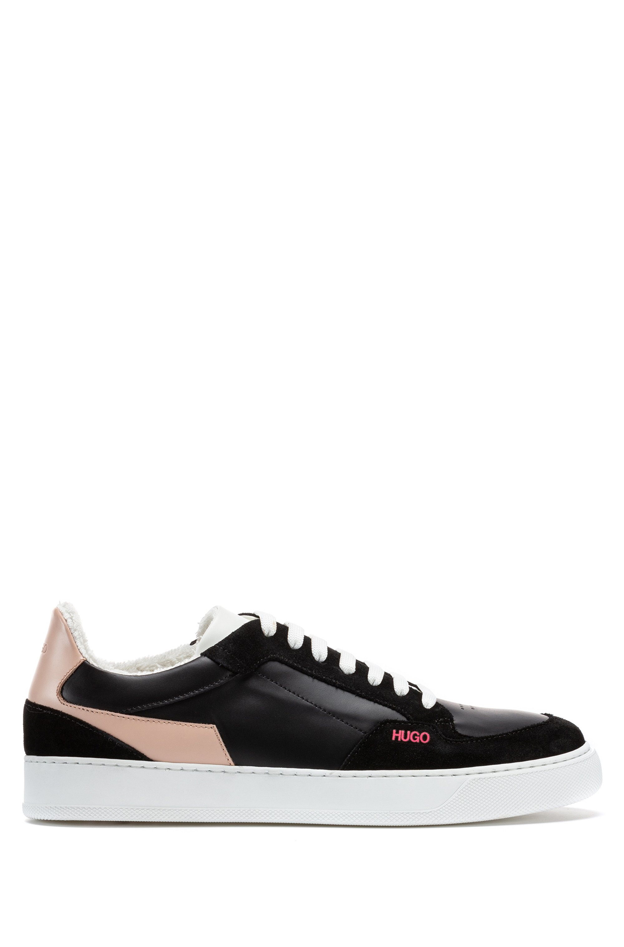 Italian-made cupsole trainers in leather and suede, Black