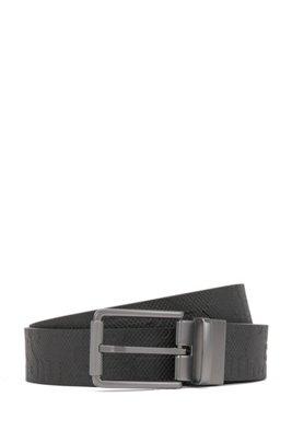 Ceinture en cuir réversible avec boucle à rouleau couleur acier mat, Noir