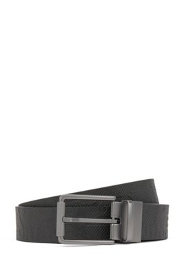 Reversible leather belt with matte-gunmetal roller buckle, Black