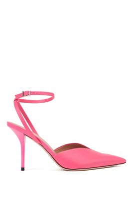 Slingback pumps in Italian leather with ankle strap, Pink
