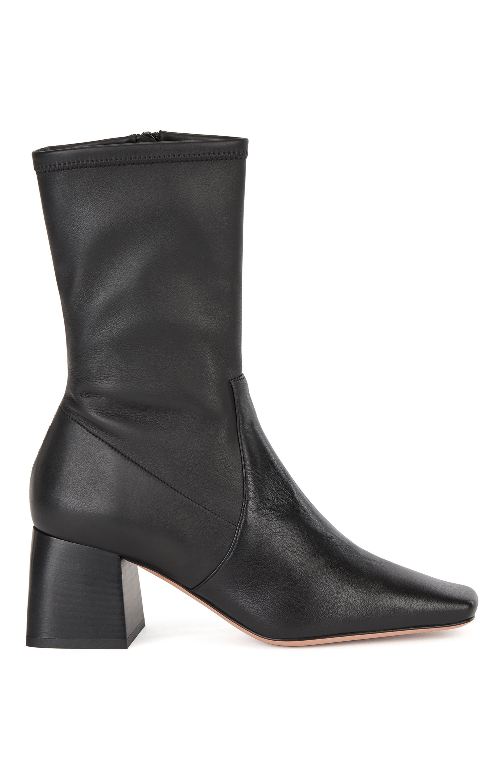 Ankle boots in Italian leather with block heel, Black