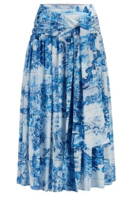 Hugo Boss Silks HUGO BOSS - PRINTED SILK RUCHED SKIRT WITH TIE DETAIL - PATTERNED