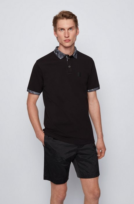 Stretch-cotton polo shirt with printed details, Black