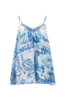 Hugo Boss HUGO BOSS - SLEEVELESS SILK TOP WITH ALL OVER PRINT - PATTERNED