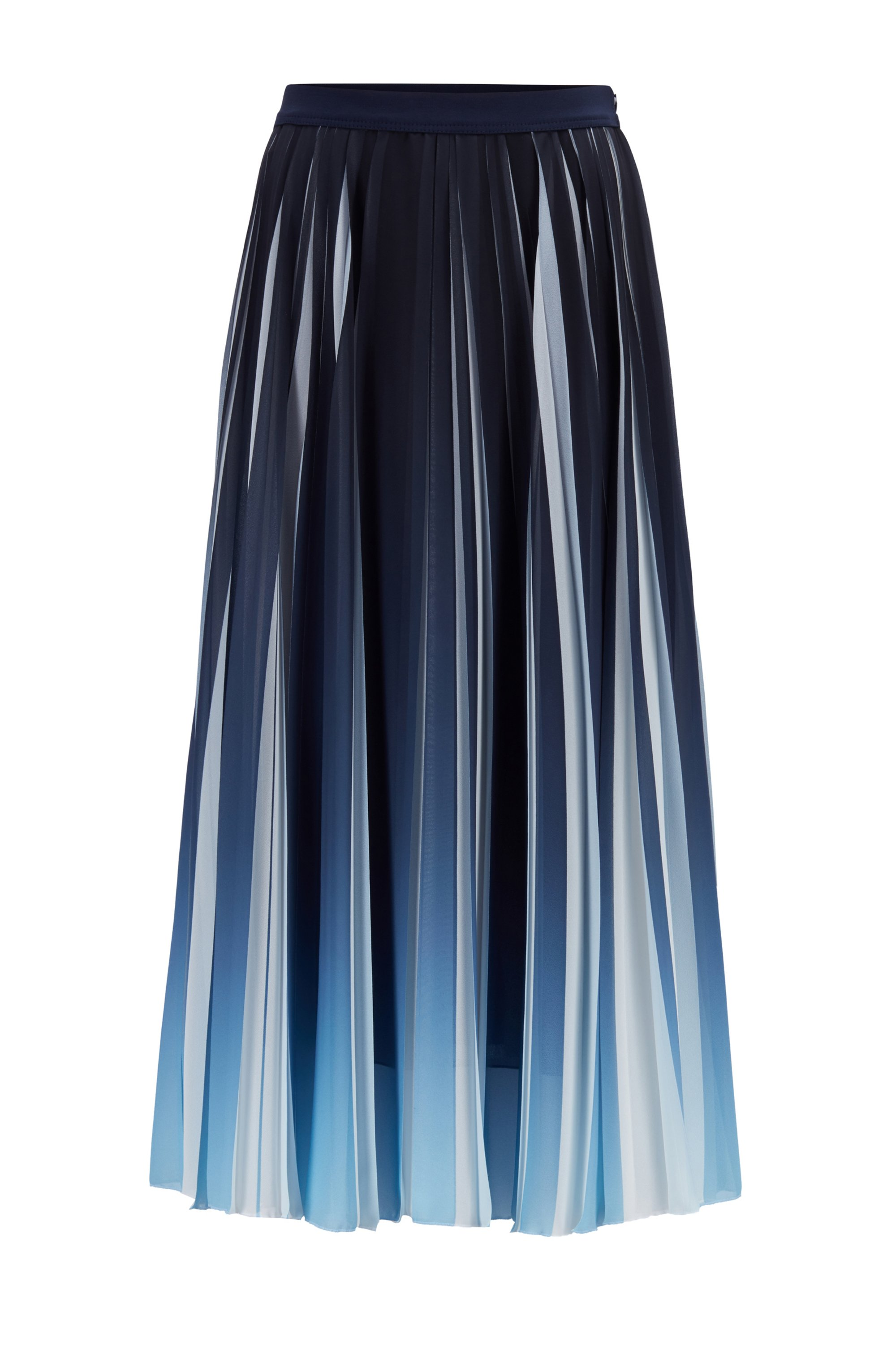 Chiffon plissé maxi skirt with dégradé overprint, Light Blue