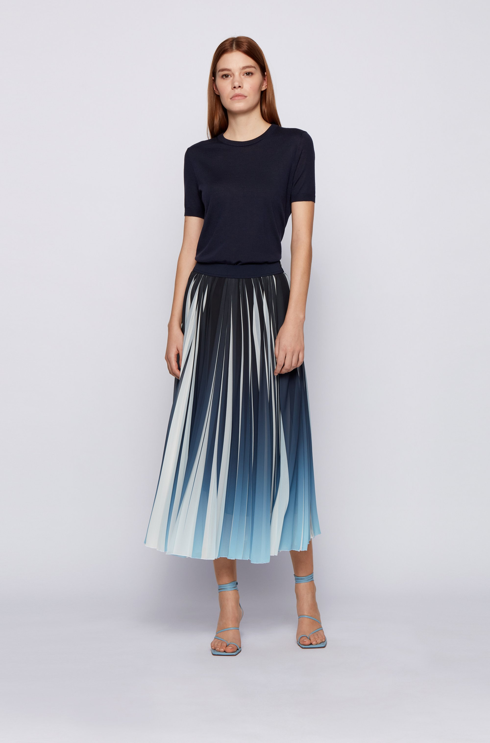 Chiffon plissé maxi skirt with dégradé overprint