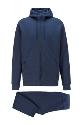 Sweatshirt and jogging pants set in double-faced fabric, Dark Blue