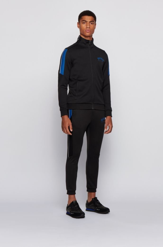 Regular-fit cotton-blend tracksuit with contrast accents