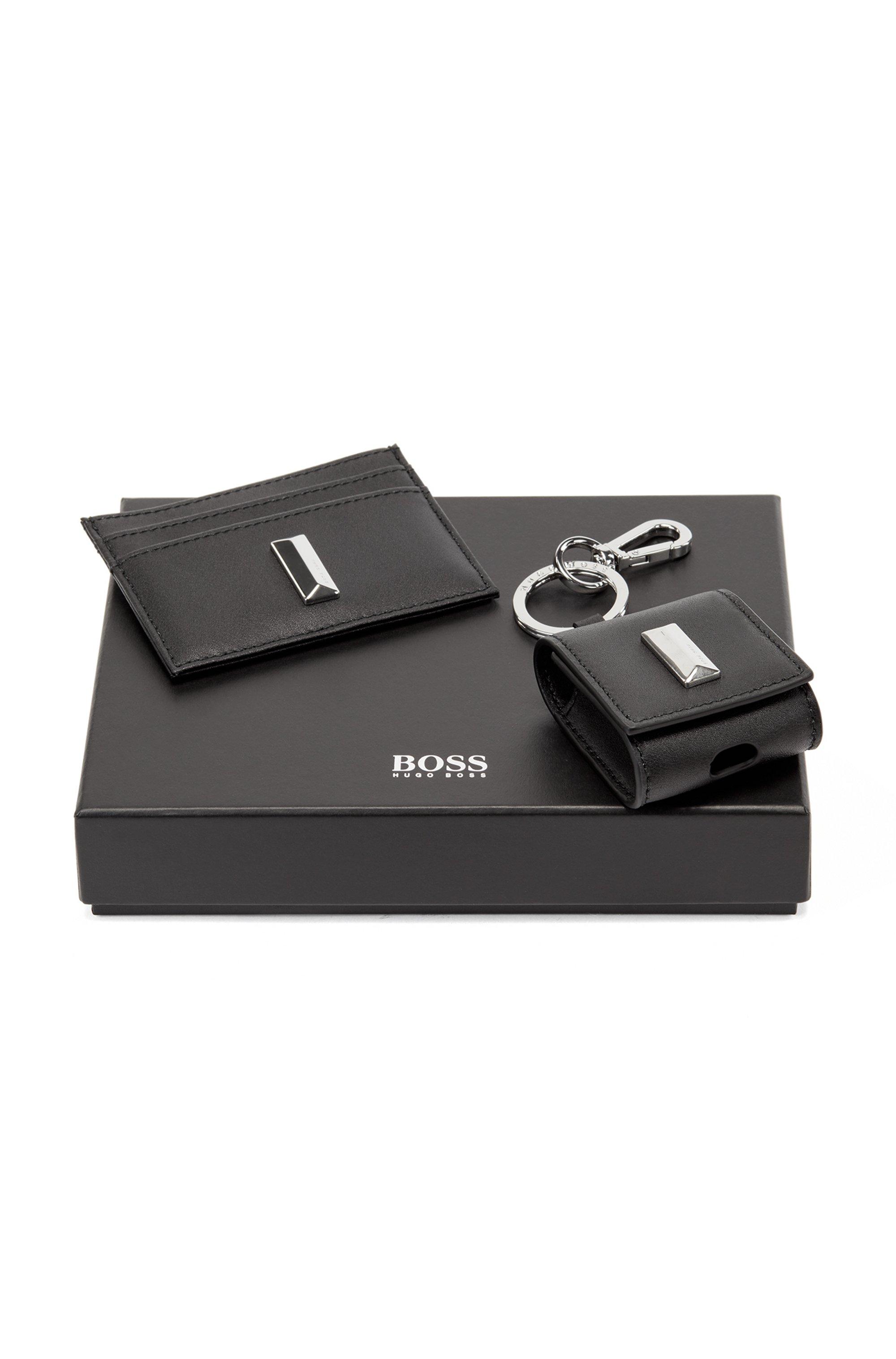 Coffret cadeau avec porte-cartes et étui pour écouteurs en cuir, Noir