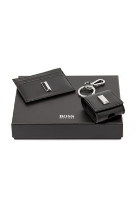 Leather card holder and headphone case gift set, Black