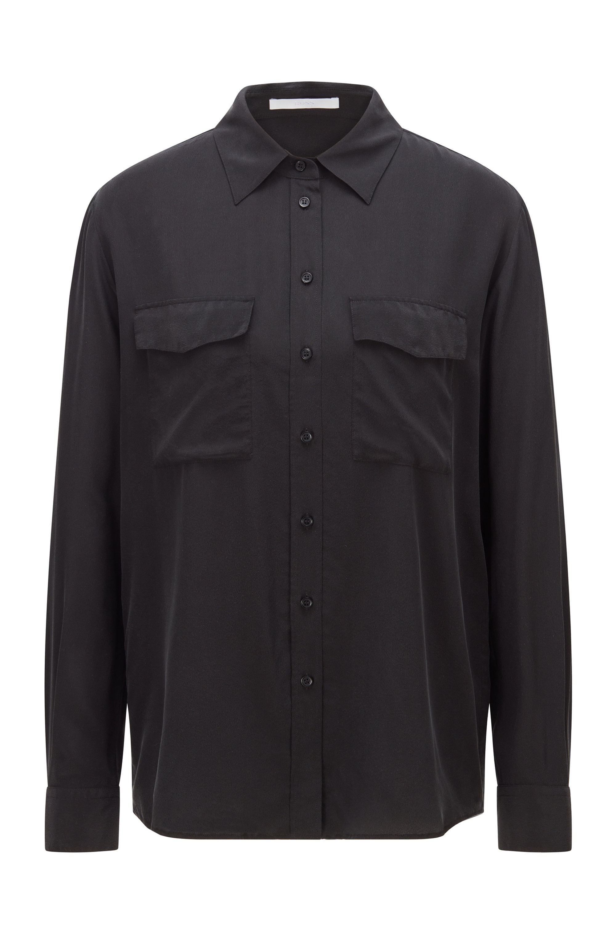 Regular-fit blouse in pure sand-washed silk, Black