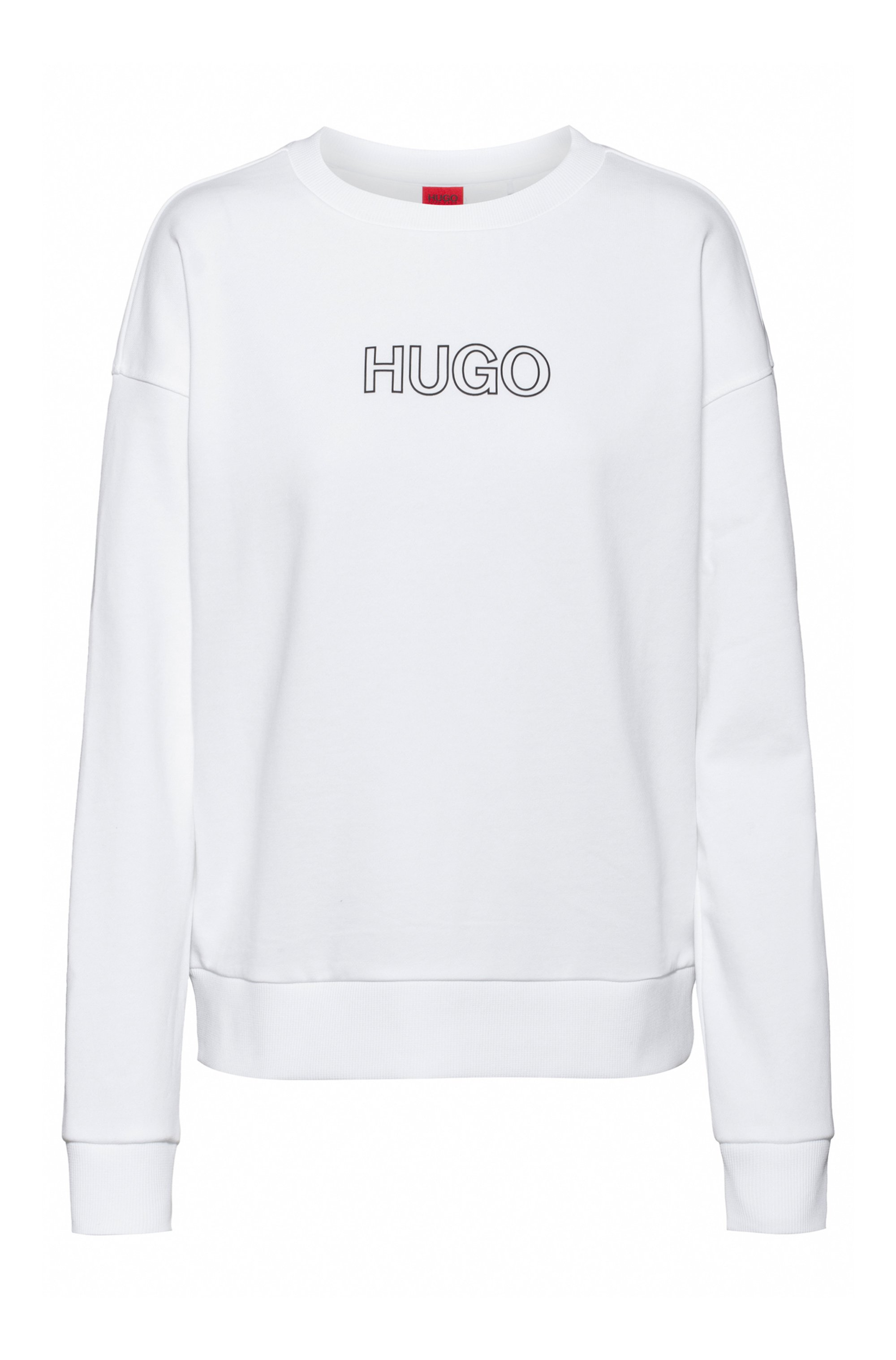 French-terry sweatshirt in organic cotton with 3D logo, White