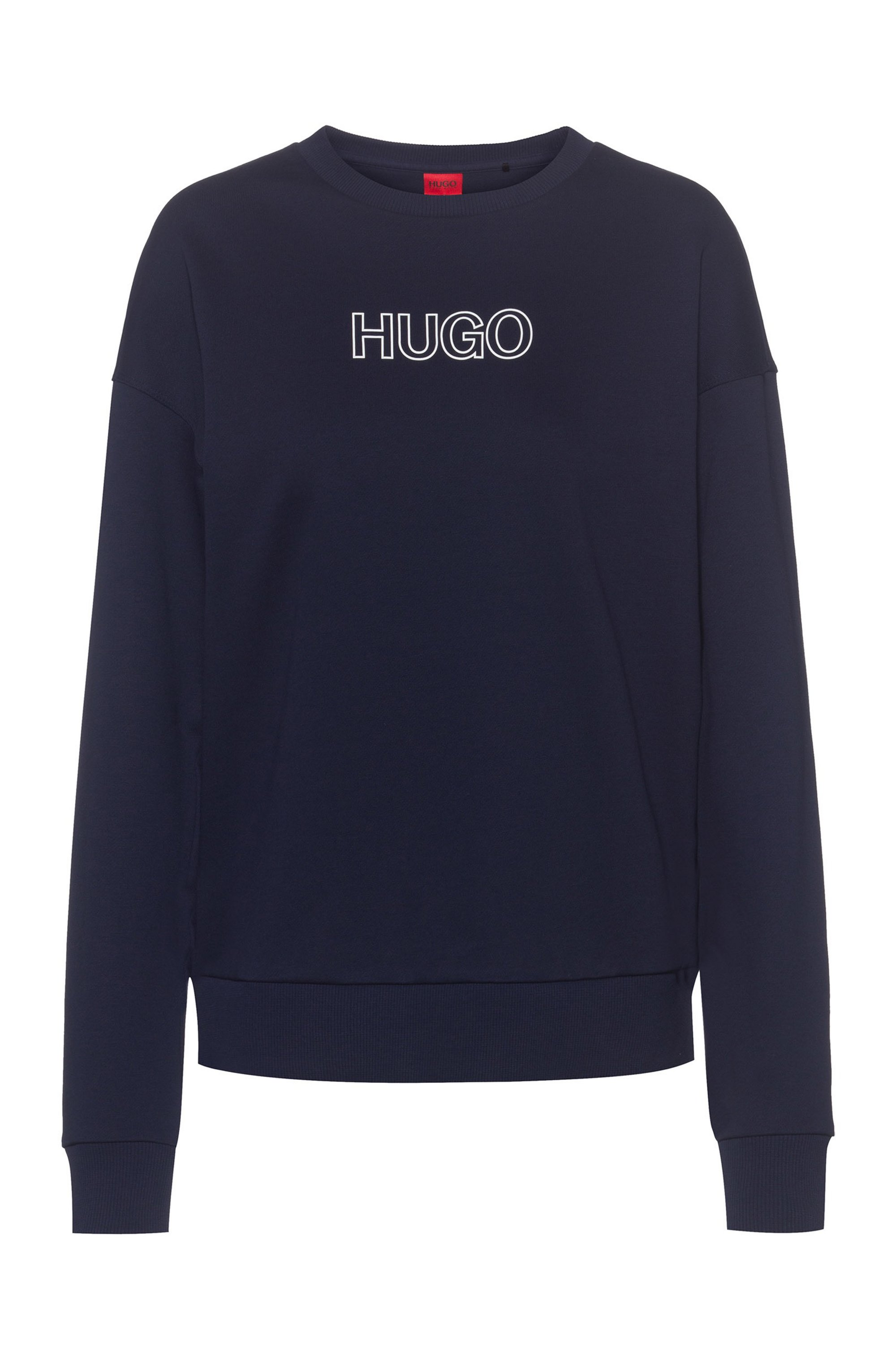 French-terry sweatshirt in organic cotton with 3D logo, Light Blue