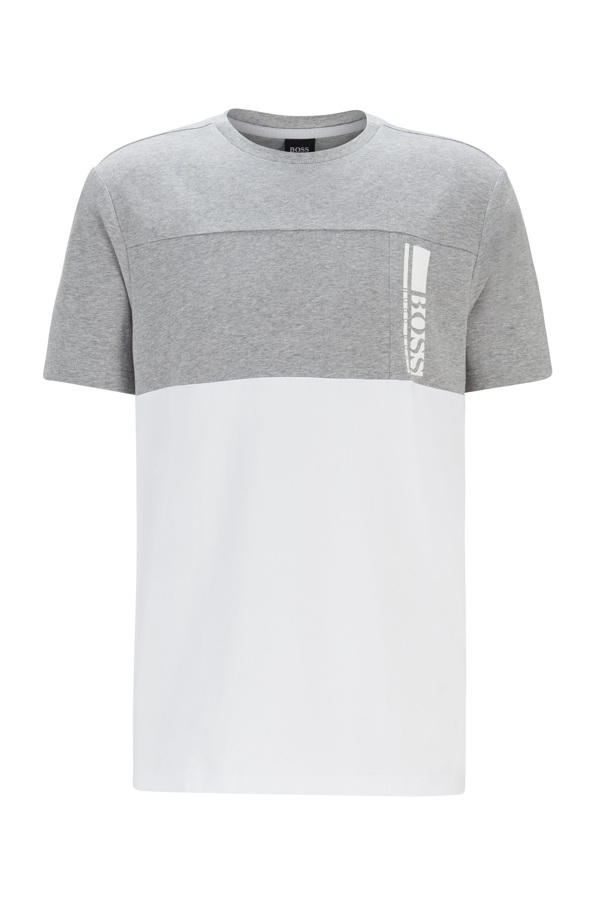 Color-block logo T-shirt in stretch-cotton jersey, Light Grey
