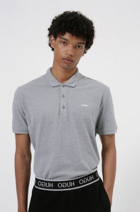 Cotton polo shirt with embroidered reversed logo, Grey