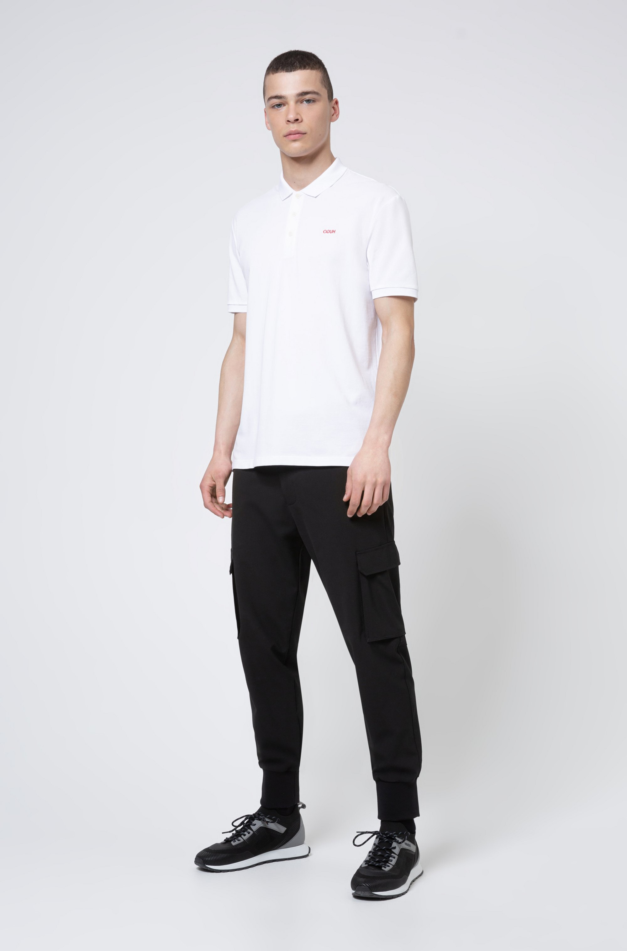 Cotton polo shirt with embroidered reversed logo