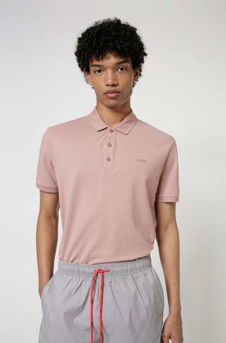 Cotton polo shirt with embroidered reversed logo, Light Brown
