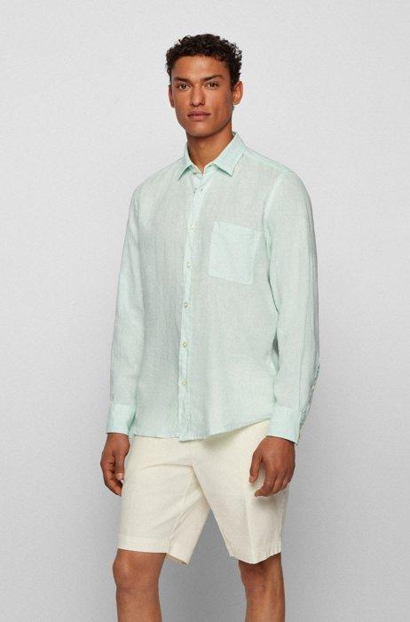 Regular-fit shirt in pure linen with logo flag, Light Green