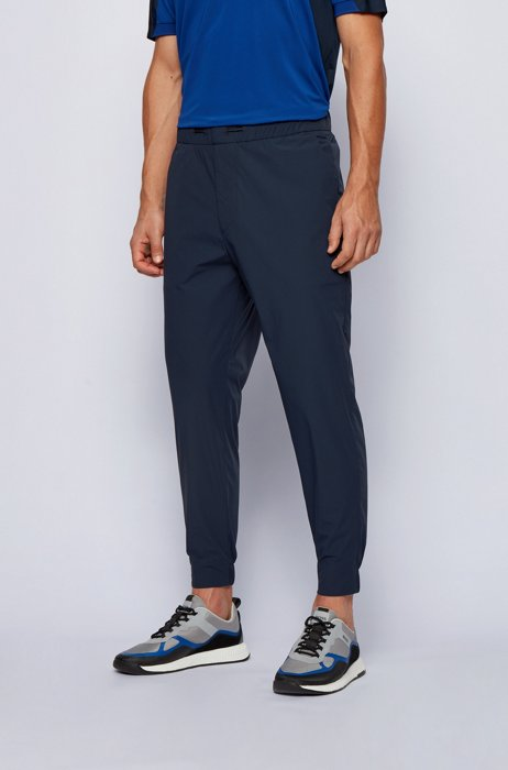 Water-repellent relaxed-fit pants with drawstring waistband, Dark Blue
