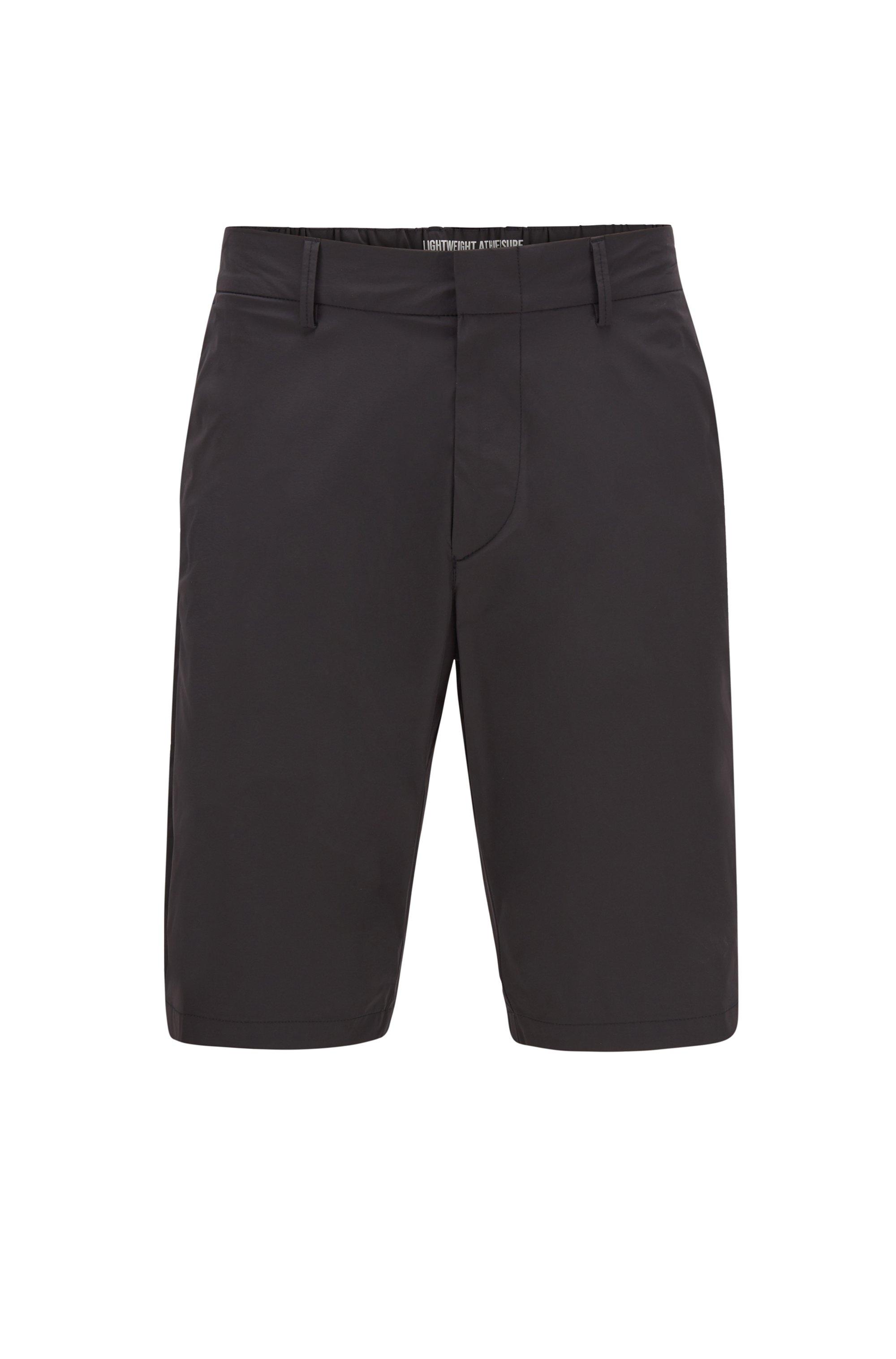 Short Slim Fit en tissu monofibre stretch déperlant, Noir