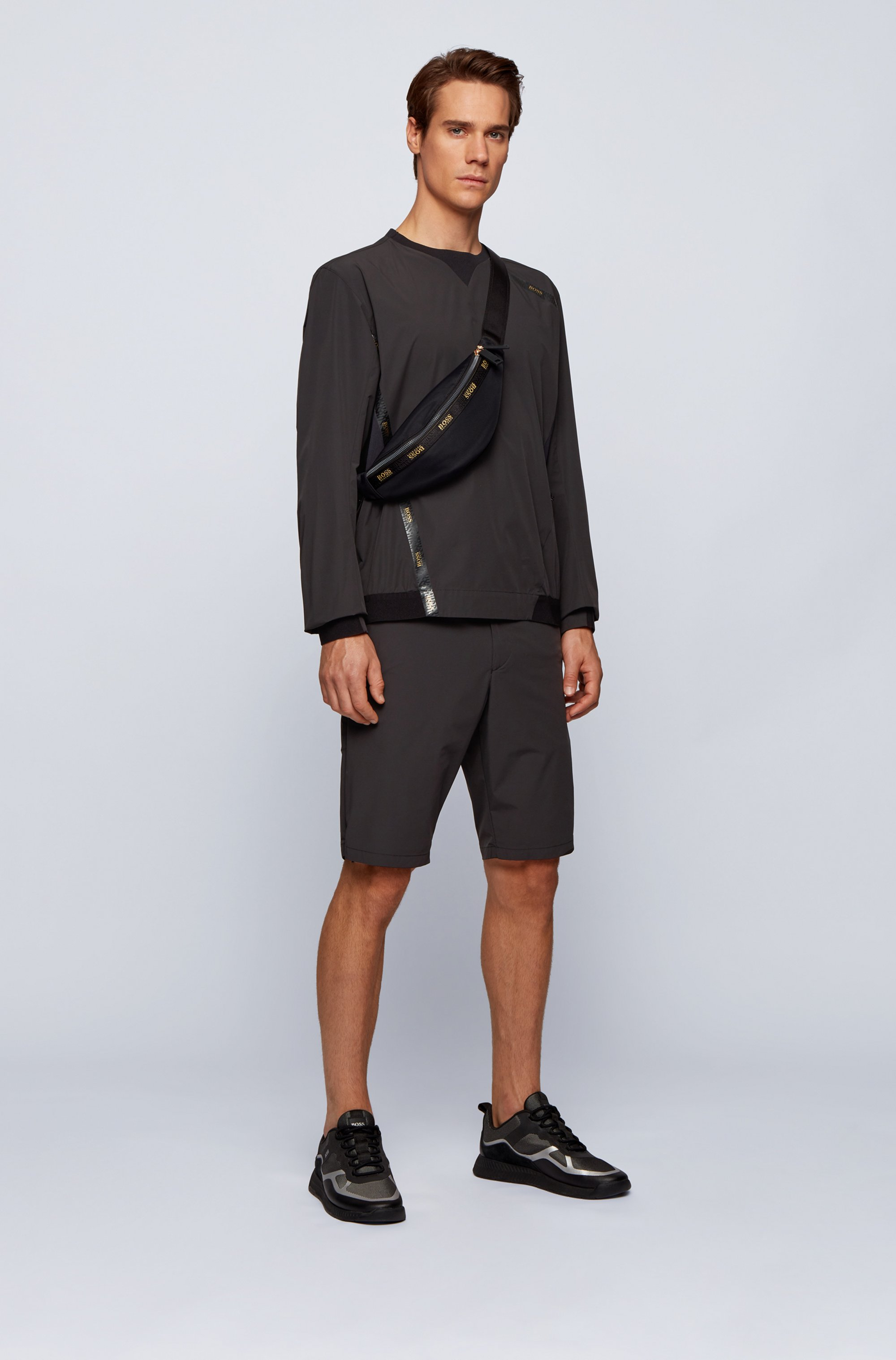 Slim-fit water-repellent shorts in stretch monofibre