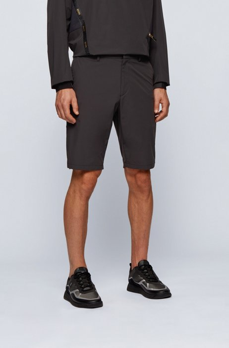 Slim-fit water-repellent shorts in stretch monofibre, Black